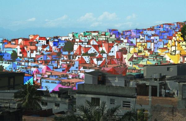 Painting an entire favela in rio de janeiro designboom 01