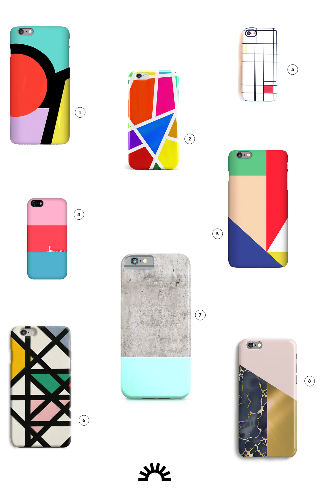 8 colorblocked phone cases