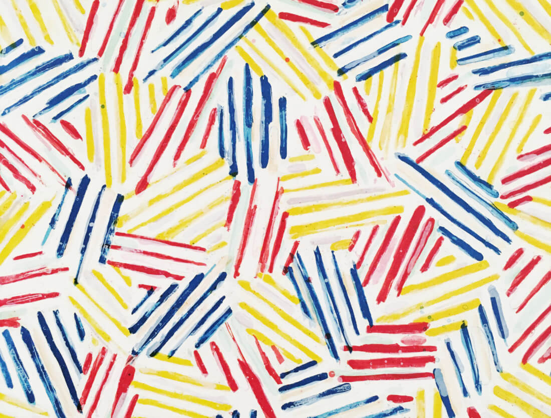 closeup of a Jasper Johns painting