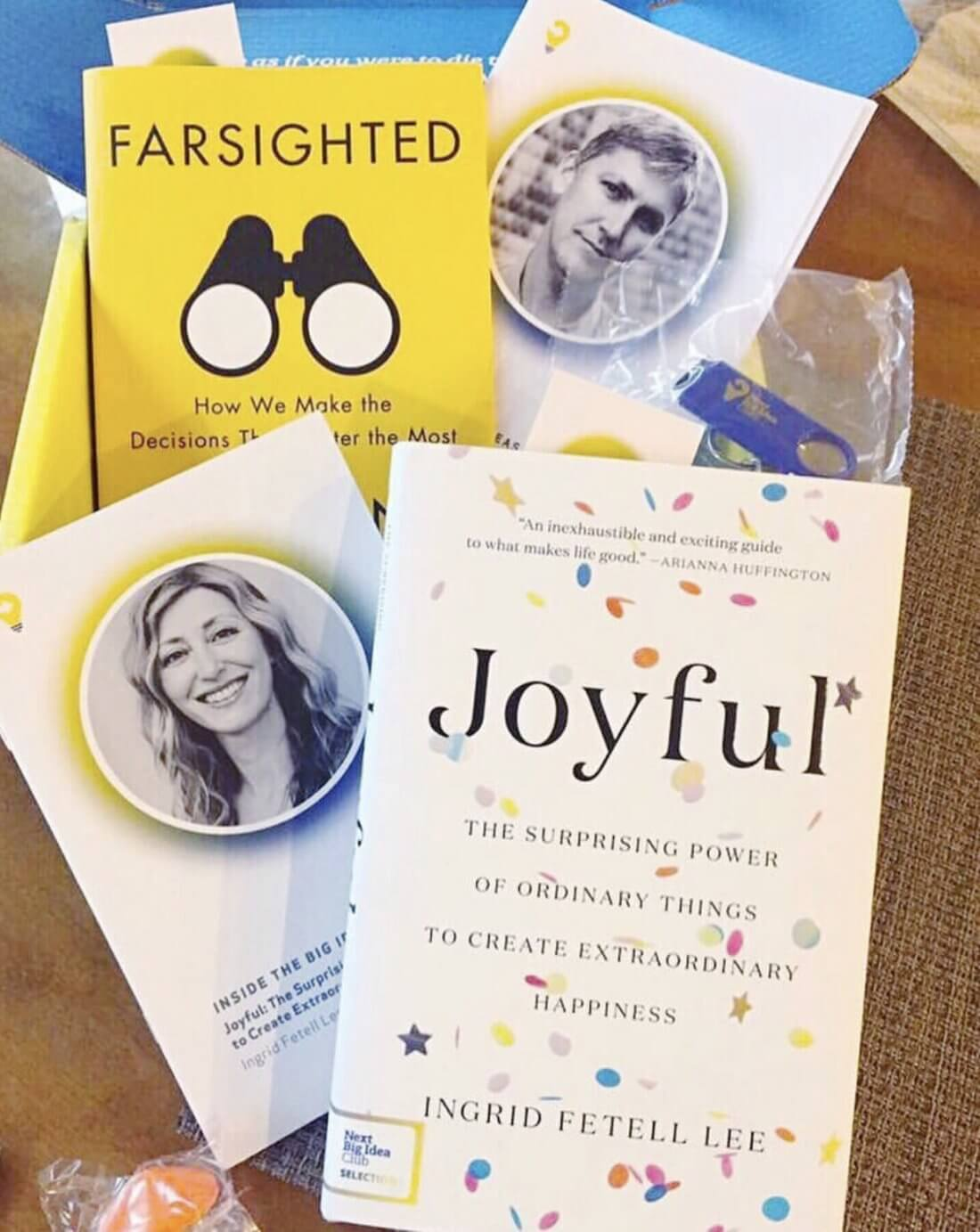 Picture of the next big idea club box, including Joyful and Farsighted